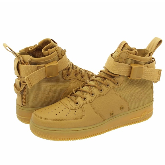 half off 014f5 ed6c6 Nike Womens AirForce 1 Mid Elemental Gold Leather